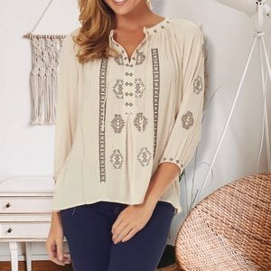 Tea n cup Ivory Tribal Embroidered Bohemian Top M